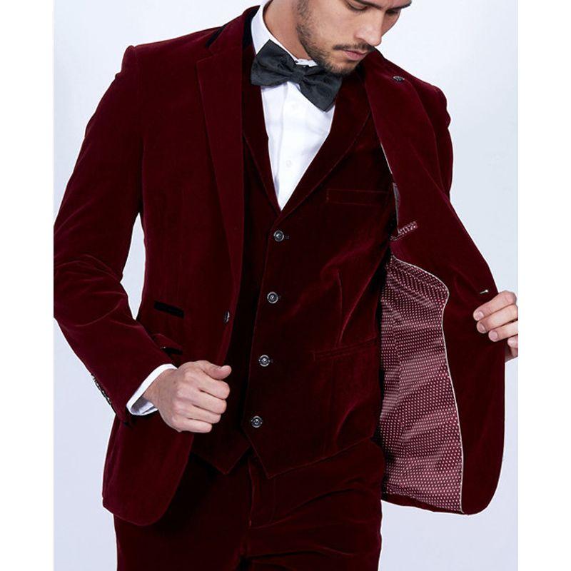 Trajes de hombres de terciopelo burdeos 3 piezas Blazer Tailor Made Wine Red Groom Prom Party Tuxedo Jacket Pants Vest Vest WH219