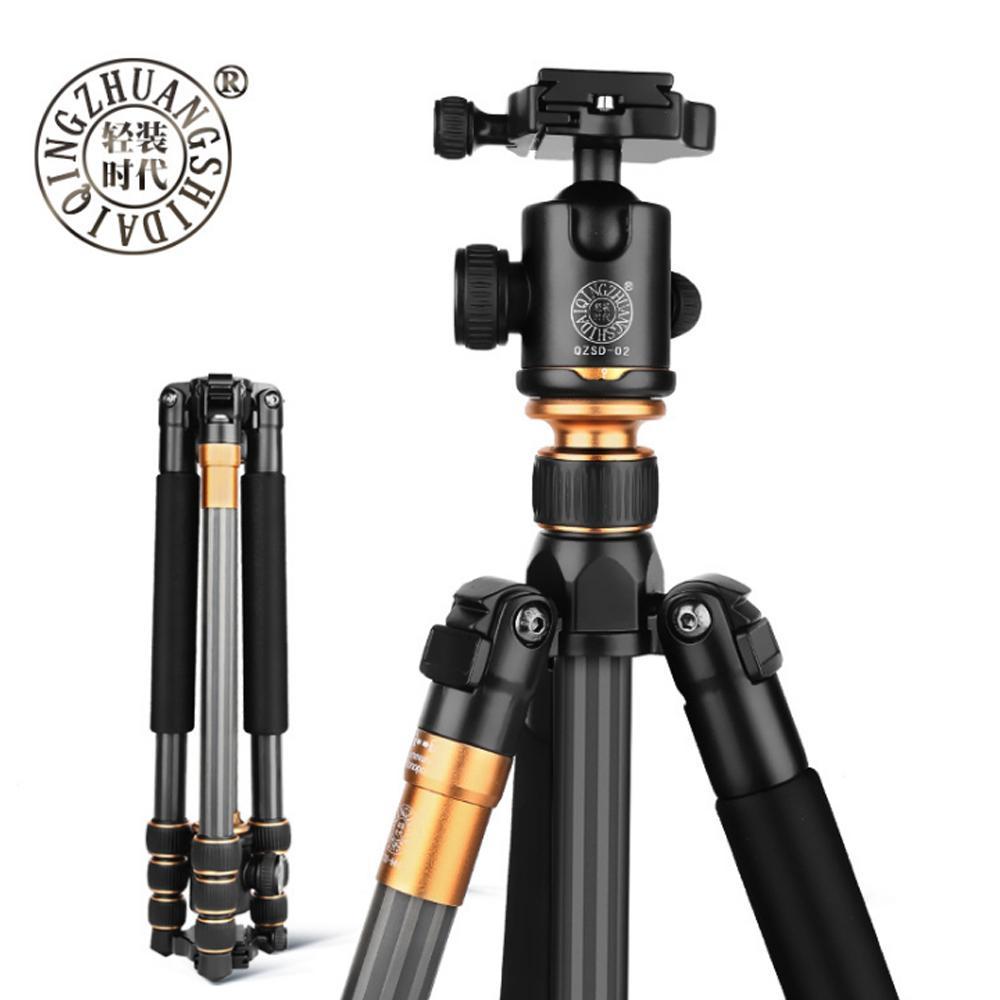 Original Quente QZSD QZSD Q999C Profissional Fotográfico Portátil De Fibra De Carbono Tripé Kit Monopé Suporte Bola cabeça Para DSLR Camera