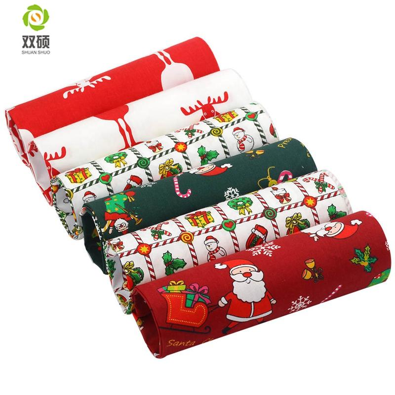 ShuanShuo Twill Cotton Fabric Patchwork Tissue Cloth Of Christmas Handmade DIY Quilting Sewing Textile Material Half Meter