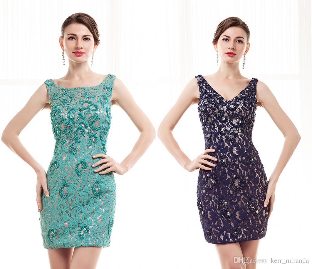 Dostosowane Black Lace Ball Prom Dresses Green Backless Handmade Zroszony Dom Powrót do Suknie Szkolne Zamocowane Krótkie Suknie Krótkie Party