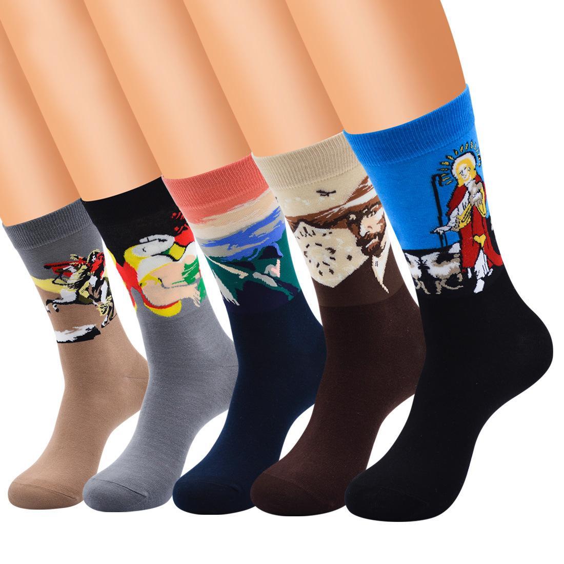 6 accoppiamenti mens arte retrò famoso dipinto arte stampato divertente casual calze di cotone crew personalità calze pittura a olio maschile