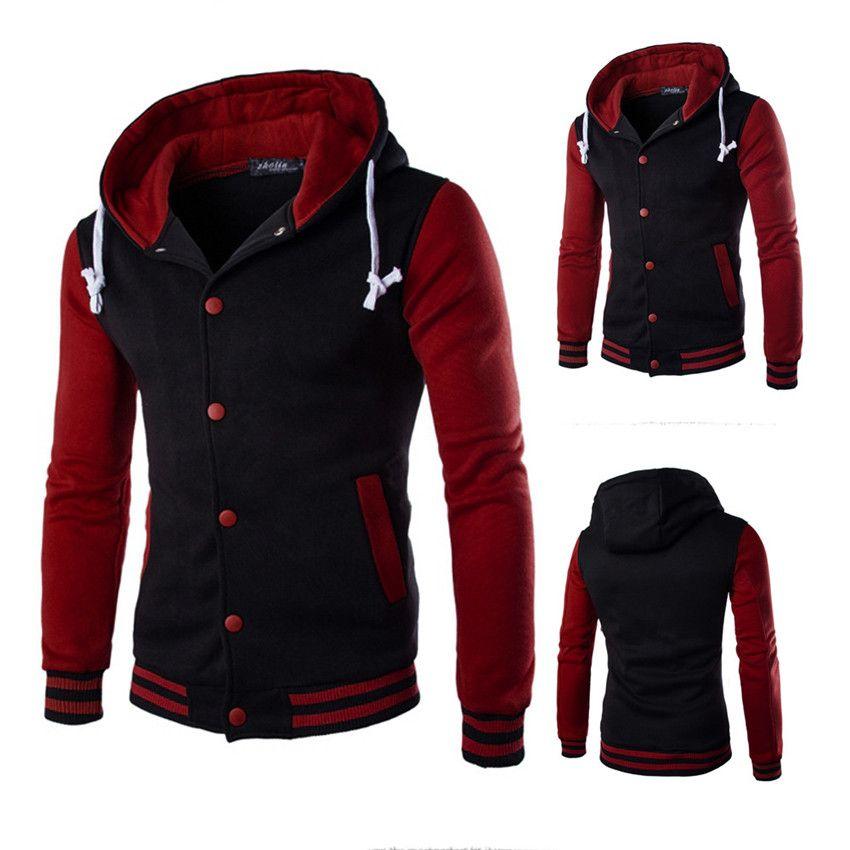 Мужчины осень зимнее пальто куртка пиджака свитер тонкий толстовка теплый с капюшоном лоскутная толстовка # 06121 мужские куртки