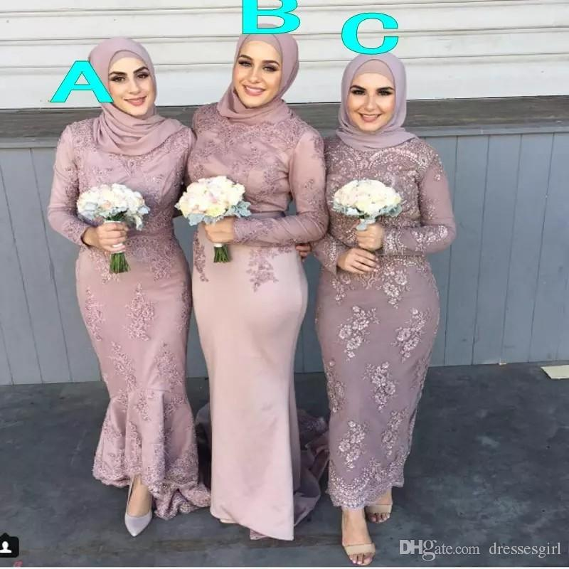 Elegant Sheath Ankle Length Muslim Bridesmaid Dresses Long Sleeve Lace Cheap Evening Prom Dresses Custom Made