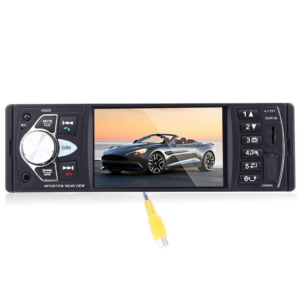 1Din Car Radio MP4 Player 4.1 Inch Car MP3 MP5 Player Bluetooth FM Stereo Auto Audio With Rear View Camera Steering-wheel +B