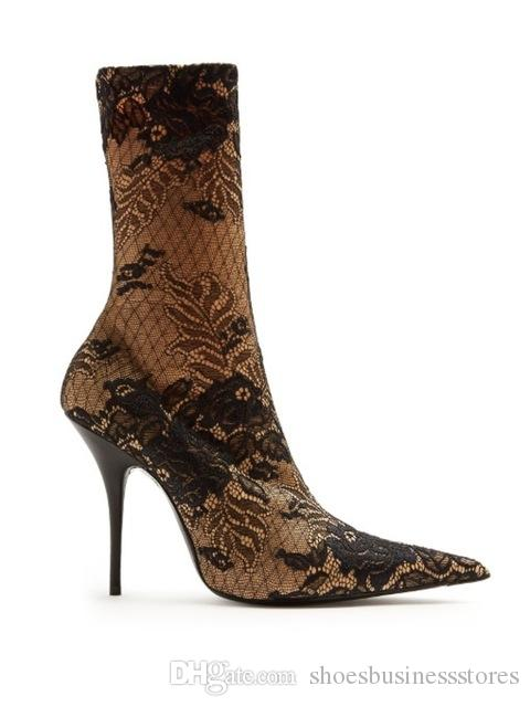 2018 Winter Art Graffiti Fashion Riding Women Sock-like Boots Middle Tube Flowers Stretch Fabric Thin Heels Runway Shoes Woman