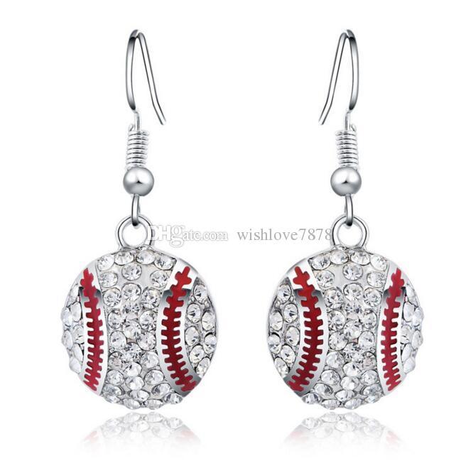 Серебряные серьги Серьги горячие продажа CZ Кристалл Бейсбол мотаться серьги для женщин девушка партии ювелирные изделия Оптовая Бесплатная доставка