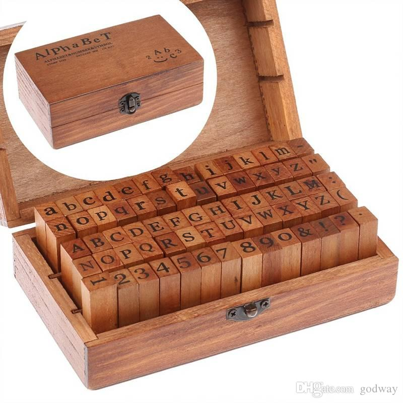 70 Pcs Rubber Wood Stamps Alphabet Letter Number Wood Set Box wooden stamps with wood box