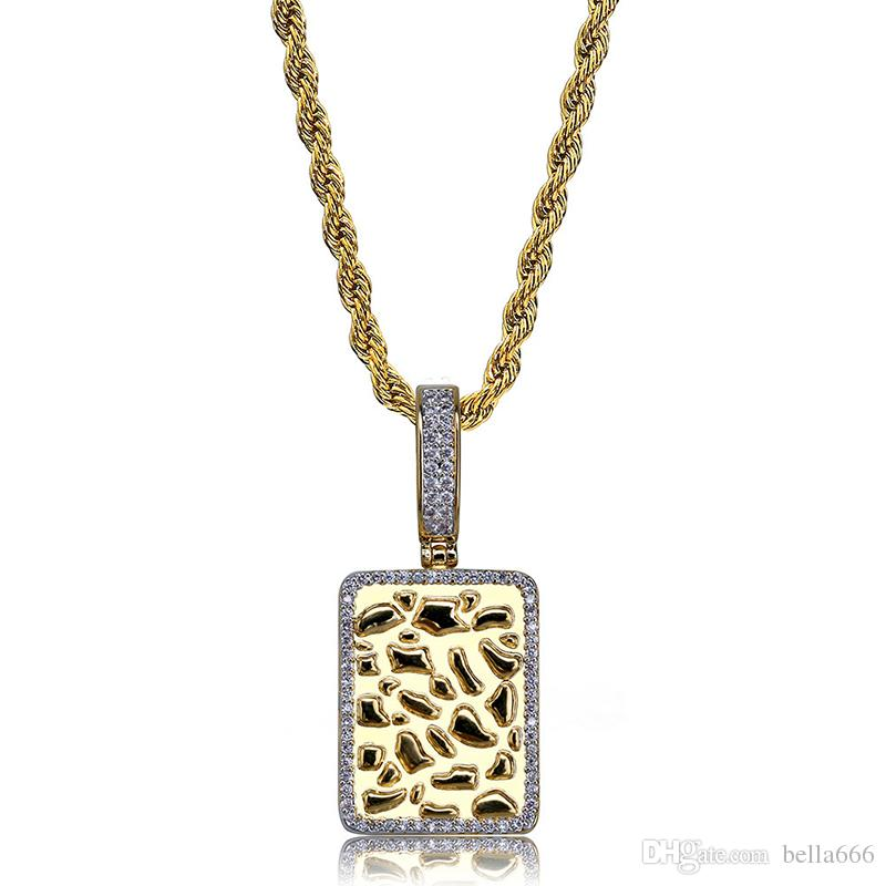 Hip Hop Rectangular Gold Bullion Pendant Necklace Iced Out Cubic Zirconia Charms Necklaces Jewelry for Men