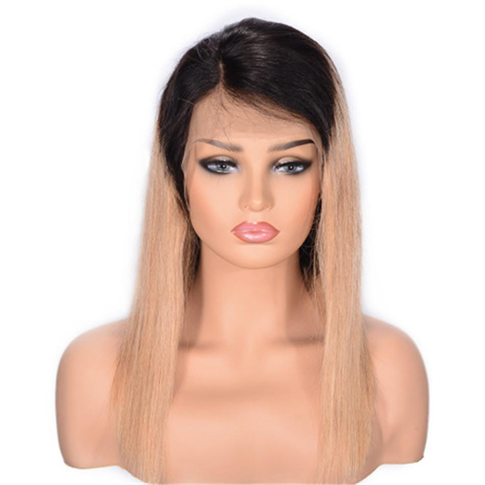 1B/27 Ombre Brazilian Human Hair Lace Front Wigs for Women Straight Lace Bob Wig With Baby Hair