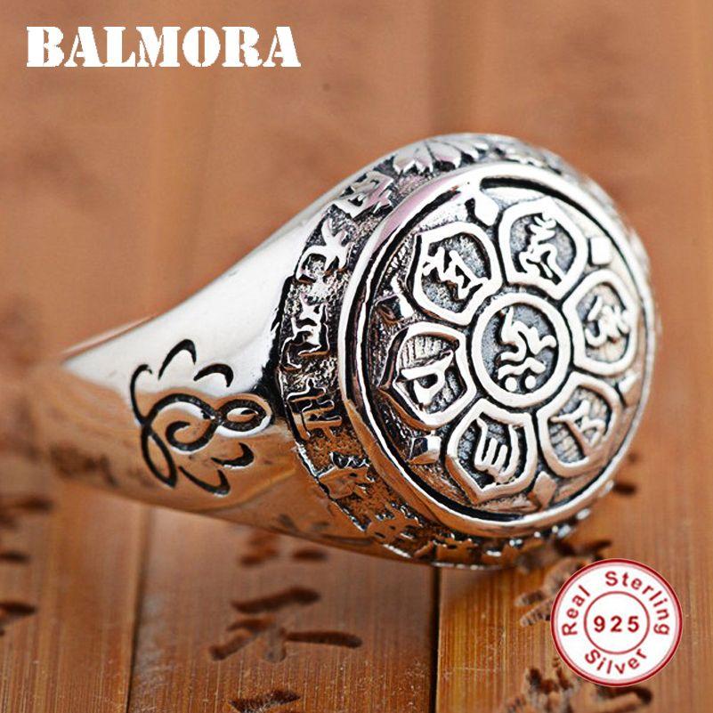 BALMORA старинные 100% реальные 925 стерлингового серебра ювелирные изделия буддийские шесть слов мантра кольца для женщин мужчин любителей подарки SY20992 Y1891205