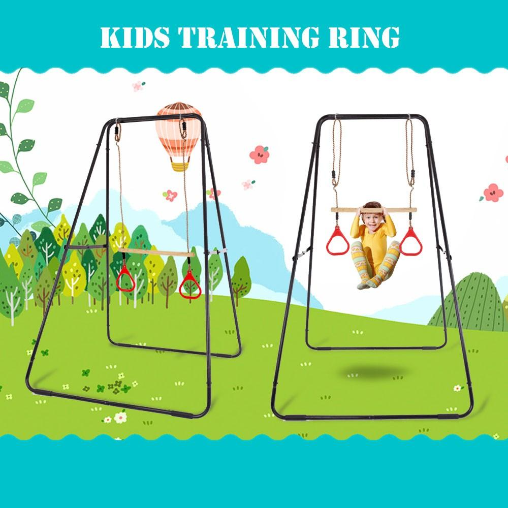 Wooden Strength Training Rings kids Exercise Workout Ring Set Child Home Playground Gym Yard Fitness Tool House Sturdy Accessories