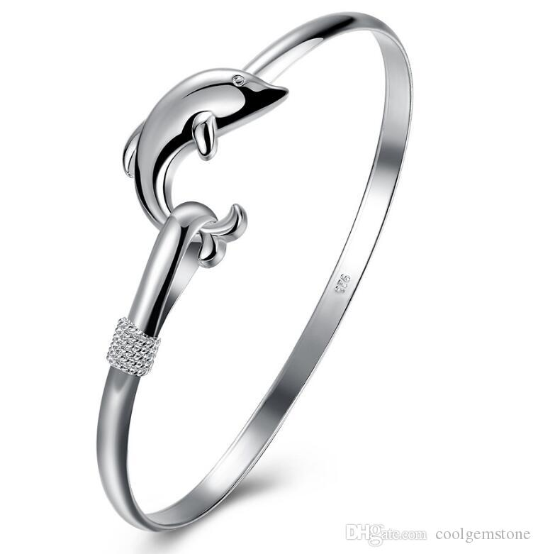 Luckyshine 6Pcs Holiday Gift Dolphin Shine Pure 925 Sterling Silver Open Adjustable Bracelets Bangles Russia Bangles