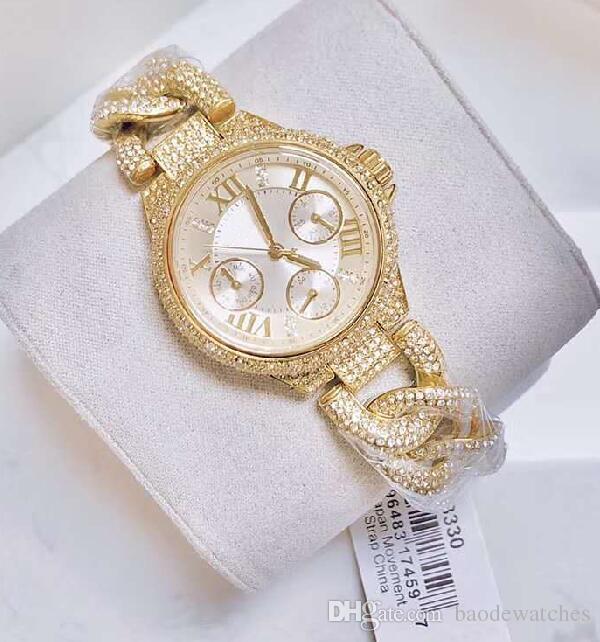 Мода персонализированные женская одежда часы полный алмазов золото и розовое золото mk3309 mk3330 + оригинальная коробка + Оптовая и розничная продажа + Бесплатная доставка