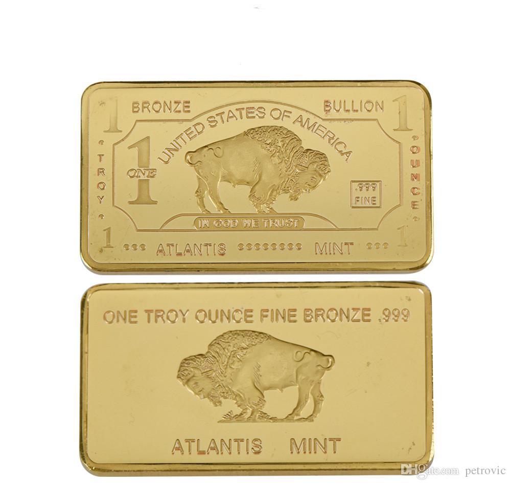 Wholesale 5PCS/lot Free shipping 1 Oz Buffalo Gold Bar, 24k 999.9 Gold Plated Gold Bar