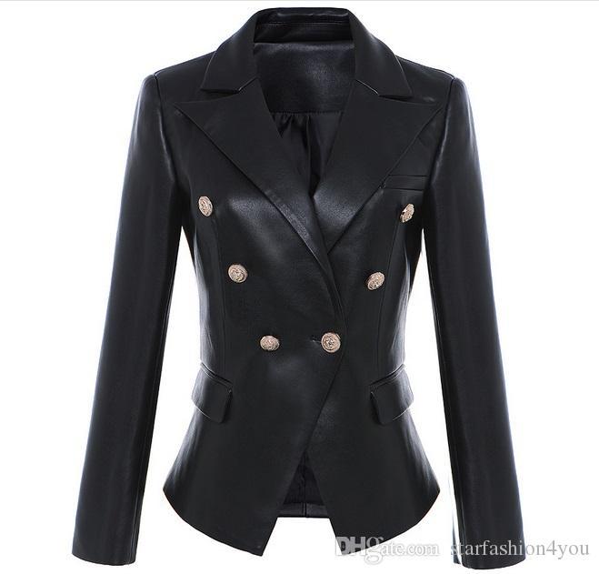 Etiket Marka B Üst Kalite Orijinal Tasarım Kadın İnce Deri Ceket Metal Toka çift Breasted Siyah Motosiklet Ceket ile Yeni S-3XL