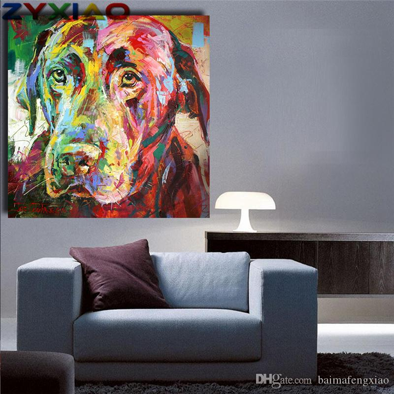 ZYXIAO Big Size Oil Painting Art animal colorful dog Home Decor on Canvas Modern Wall Art No Frame Print Poster picture ys0060