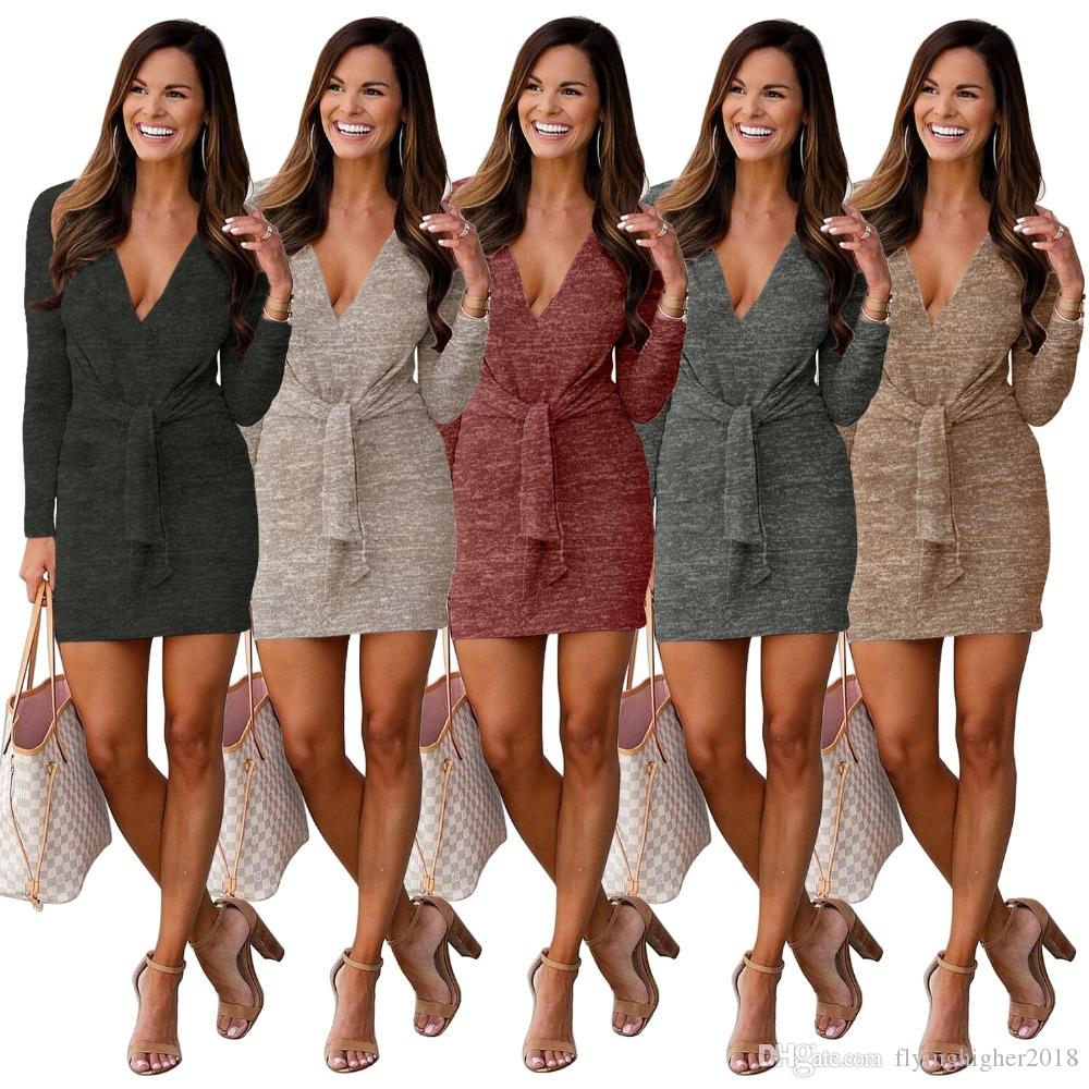 Solide Sexy Deep V Neck Pencil Dress Automne Full Sleeve Bodycon Mini Dress Femmes High Street Lace Up Bandage Dress 5 Couleur