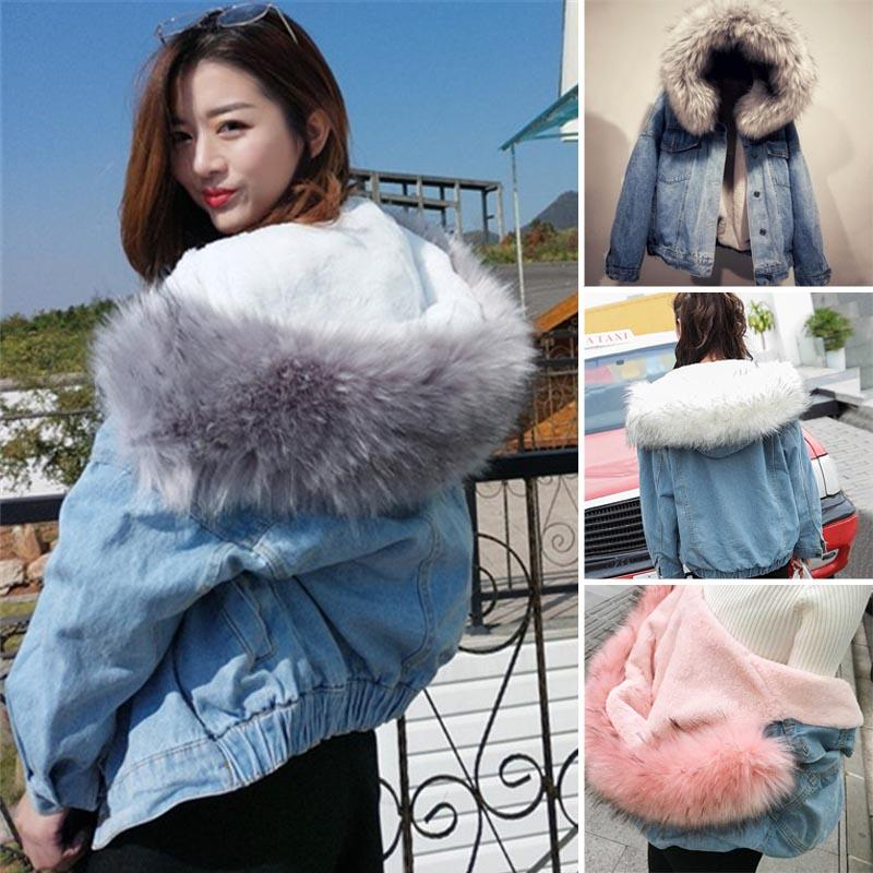 lovely luster how to find huge inventory Women Winter Warm Denim Jacket Faux Fur Collar Casual Denim Trucker Jacket  Coat H9 Leather Jackets Jacket From Liumeiwan, $52.64| DHgate.Com