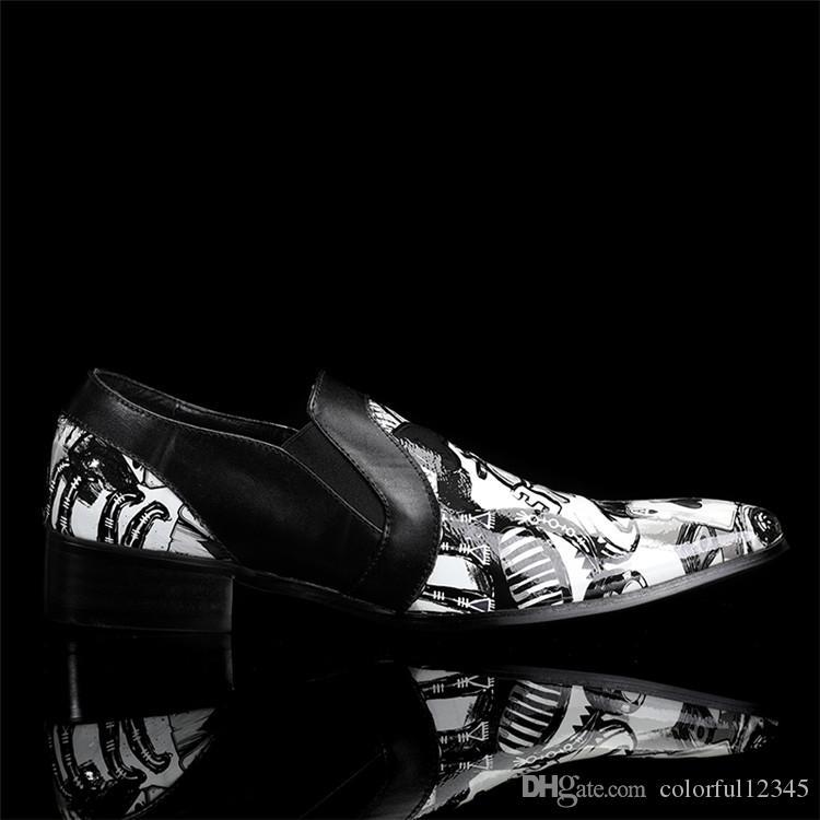 printemps Fashion Designer en cuir véritable homme chausseurs mariage italienne Chaussures formelles Imprimer Chaussures Hommes Oxford Hommes Appartements