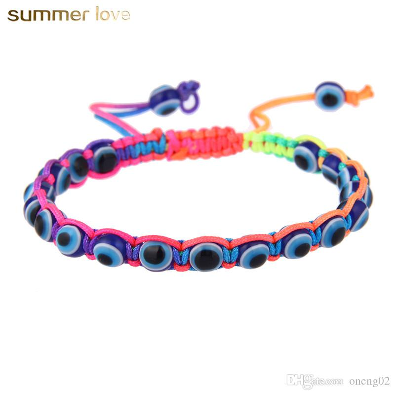 Fashion Resin Bead Evil Blue Eye Charms Bracelet Multicolor String Rope Braided Bangles Bracelets For Lovers Adjustable Length