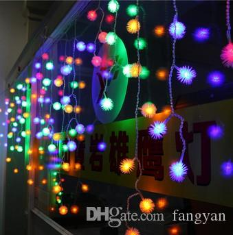 Multi-color 4m 100 LED Snowball Edelweiss Curtains String Christmas Lights Wedding Party Holiday Garden Decoration