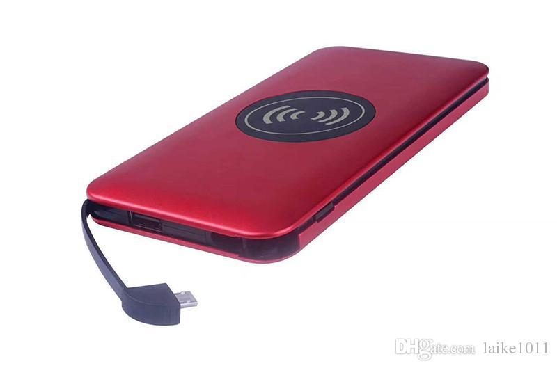 Carregador sem fio portátil banco de potência sem fio qi com dual usb bateria externa para iphone 8 x samsung s8 nota 8 -5