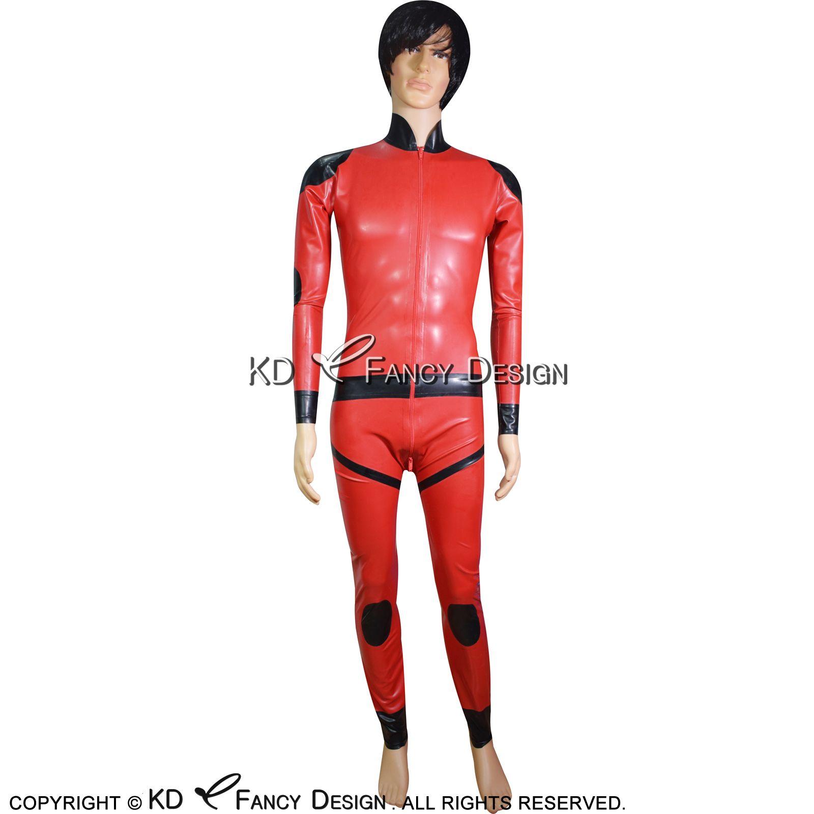 Черный с красным Sexy Latex Комбинезон с поддельными урезает пояса локтевых и коленных колодки Резиновые Bodysuit Zentai Полный костюм тела LTY-0154