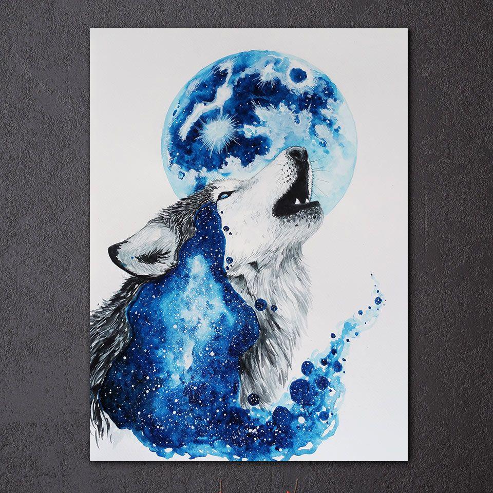 Großhandel Hd Gedruckt 1 Stück Leinwand Kunst Abstrakte Blaue Wolf ...