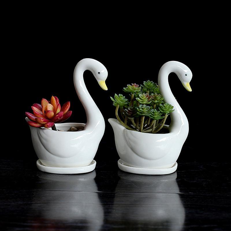 Modern 2pcs /Set Swan White Ceramic Planter For Succulents Decorative Desktop Succulents Pots Mini Flower Pot Home Garden Decoration