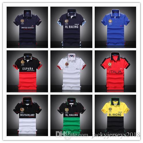 2018 Camisetas Hombre Polo RL Racing DE Italia US ESPANA Hombres Camiseta Algodón Manga Corta PoloShirt