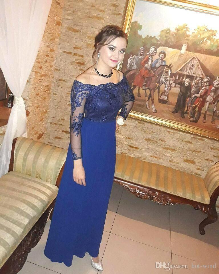 Elegant Sheath Chiffon Mother Of Bride Dresses Royal Blue Off Shoulder Sheer Long Sleeves Lace Floor Length Wedding Party Evening Gowns