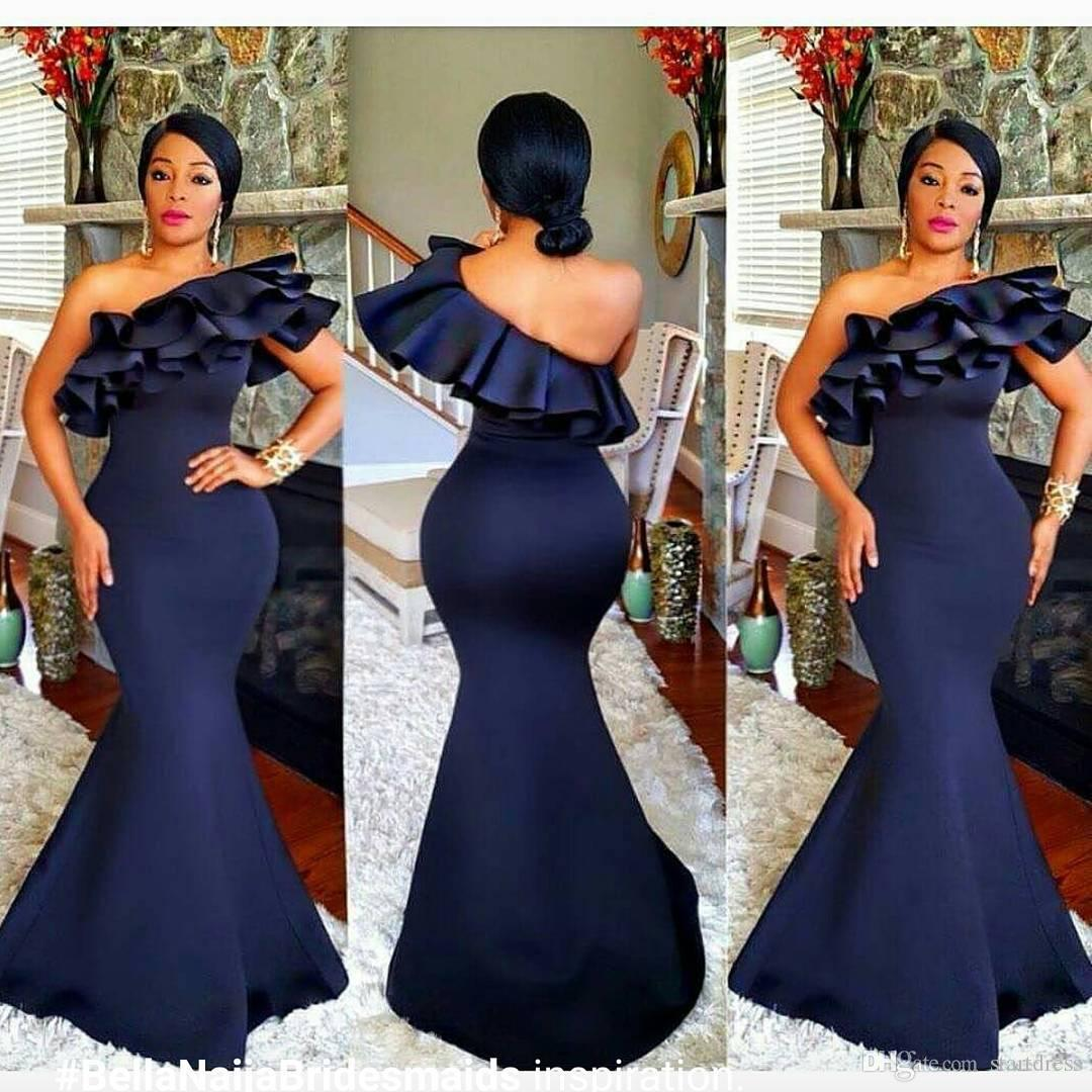 Nigeria Mermaid One Shoulder Prom Gowns Navy Blue African Style Top Ruffles Plus Size evening dresses floor length Formal Party Long