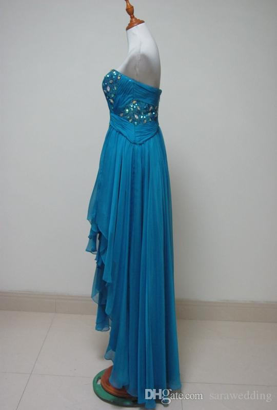 a4ab19ab18a3 ... Chiffon High Low Prom Dresses with Beads Sequins New Sweetheart Long  Party Dresses Short Front Long ...