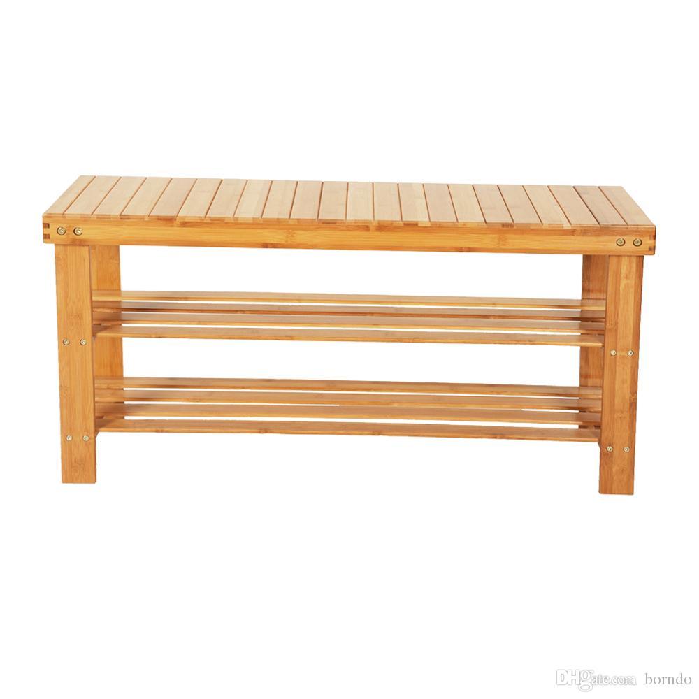 Organizador de bandejas o bandejas de madera para zapatos de bambú, estante de almacenamiento de 3 niveles, ideal para la sala de estar y el pasillo del baño del pasillo de entrada