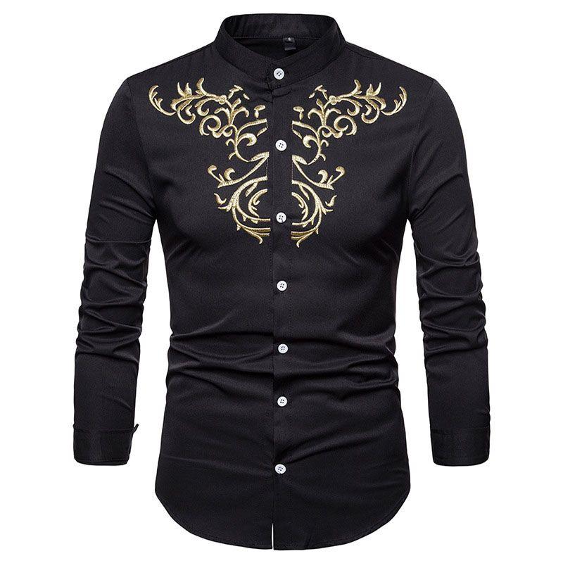 Hombres camisa de Henley bordado para hombre camisas de vestir casuales Tops 2018 nuevo cuello mandarín camisa de manga larga para hombre Chemise Homme