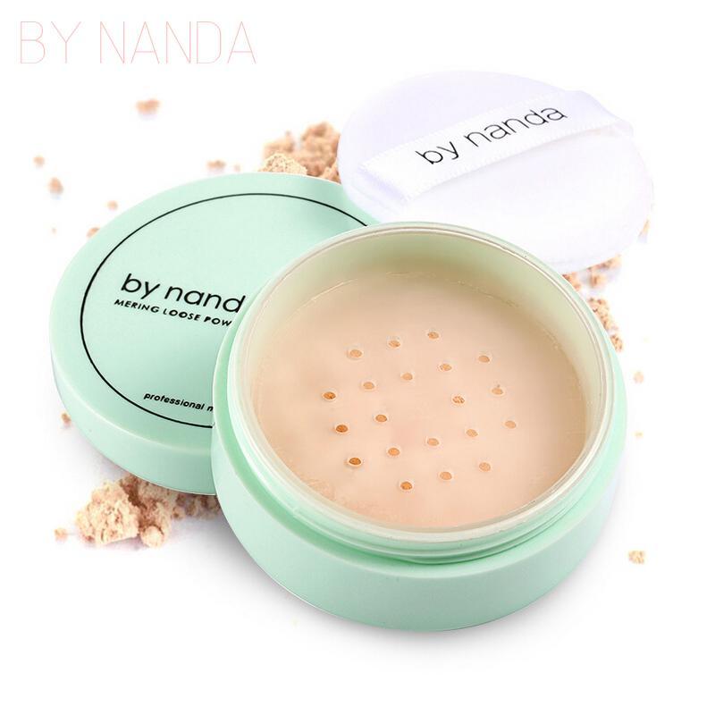 Por NANDA 3 Cor Translúcido Pó Pressionado Com Sopro Puff Suave Fundação Maquiagem À Prova D 'Água Pó Solto