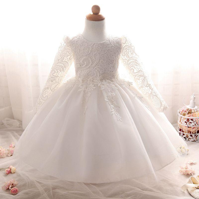 Compre Vestido De Invierno Al Por Mayor Para Niña De Manga Larga Vestidos De Bautismo Blanco Bebé Niña De 3 8 Años De Cumpleaños De Encaje Vestido De