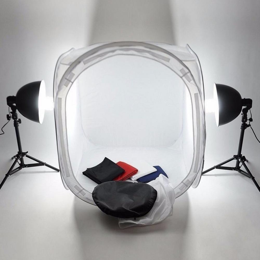 Freeshipping Studio Lightbox Pro Fotografía Equipo Plegable 50 cm Pop Up Photo Studio Soft Box Luz Softbox Iluminación Tienda 4 Telones de fondo