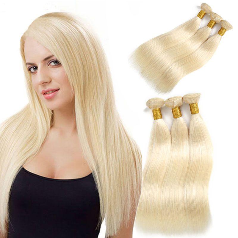 Peruvian Human Hair Bundles 3 Pcs #613 Color 100% Human Hair Weaving 10''-26''Inches Long Straight Remy Human Hair Extensions