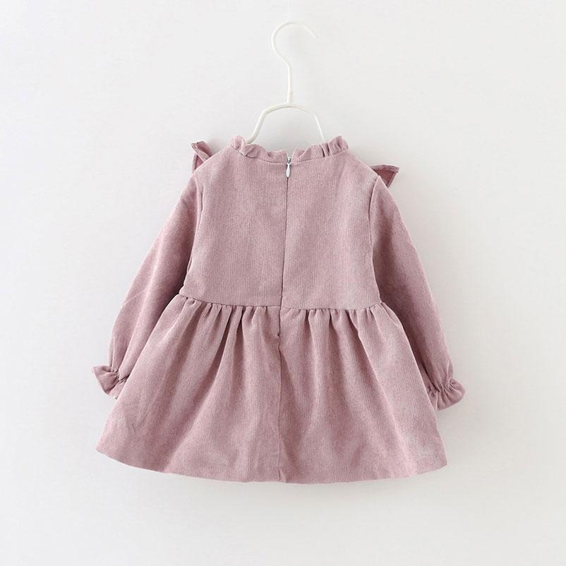 Xunqicls Autunno Primavera Principessa Neonate Dress Bambini a maniche lunghe V-a forma di Top Abiti in velluto a coste per bambina