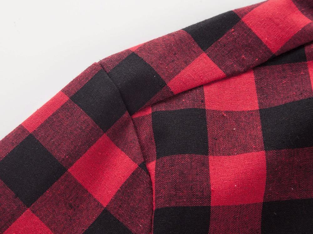 Camicia da uomo a quadri scozzesi rossa e nera Camicie a maniche corte da uomo Camicia a maniche corte da uomo chemise homme 2019 New Summer Fashion