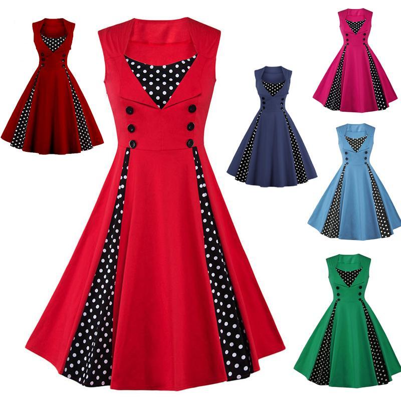 S 3xl Women Robe Pin Up Dress Retro 2017 Vintage Rockabilly Dot Slim Swing Summer Dresses Elegant Tunic Vestido Black Dress Women Buy Party Dress From Tanfyyoung 20 9 Dhgate Com