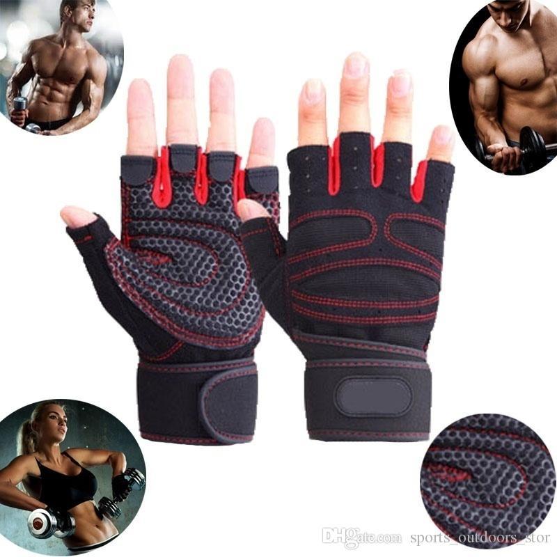 Uomini Donne mezzi della barretta fitness Guanti Guanti sollevamento pesi Protect polso palestra Guanti senza dita formazione pesi Sport