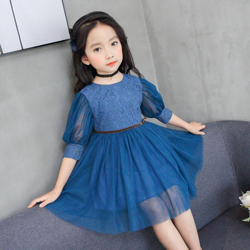 Compre 2018 Nuevo Para Niñas Vestido Lindo Encaje Sólido Puff Manga Niños Vestido Bola Crecida Fiesta Princesa Bebé Niños Ropa Azul Rosa 4 11t A