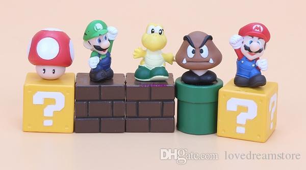 5pcs / set 슈퍼 마리오 브라더스 피규어 번들 블록 Mario Goomba Luigi Koopa Troopa 버섯 PVC Toysfor Kids Phone Accessories