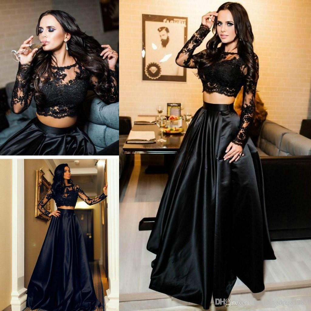 Abiti da sera arabi sexy in due pezzi Pizzo a maniche lunghe in pizzo nero Plus Size 2018 Abiti da ballo per donna da ballo in saudita 2018 Abiti da cerimonia