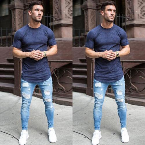 Fashion Mens Stretchy Ripped Skinny Biker Jeans Destroyed Taped Slim Fit Denim Pant Vintage Hole Pencil Trousers