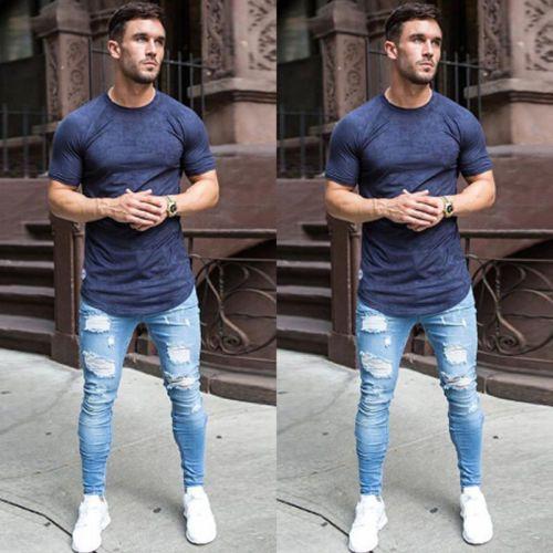 Moda Mens Stretchy Ripped Skinny Jeans motociclista destruídos Gravado Slim Fit Denim Pant Vintage Buraco Pencil Calças