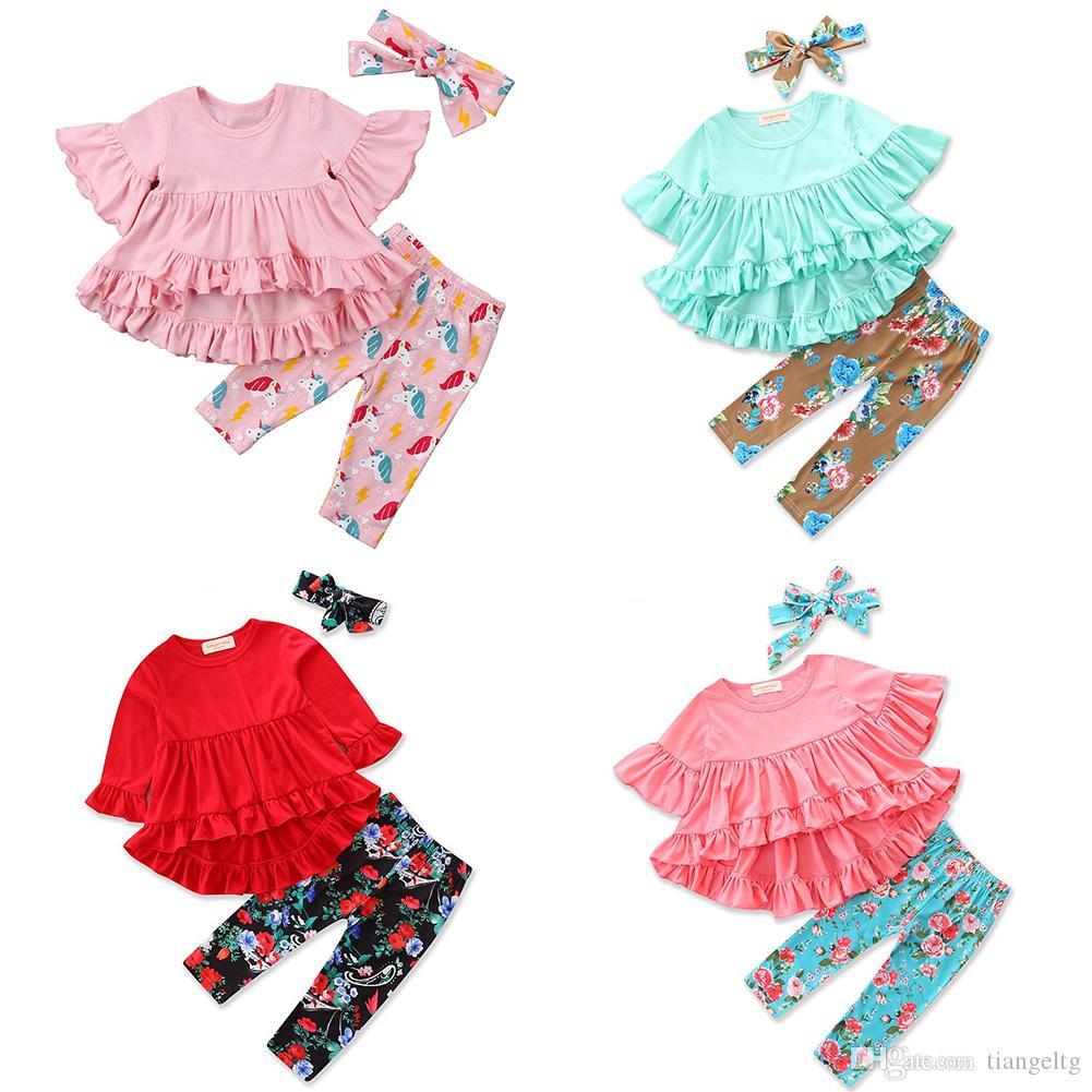 아기 소녀 프릴 의상 비대칭 톱 플레어 슬리브 개의 Tassels 부족 스트라이프 유니콘 플로라 위장 머리띠 (36)는 의류 세트 디자인
