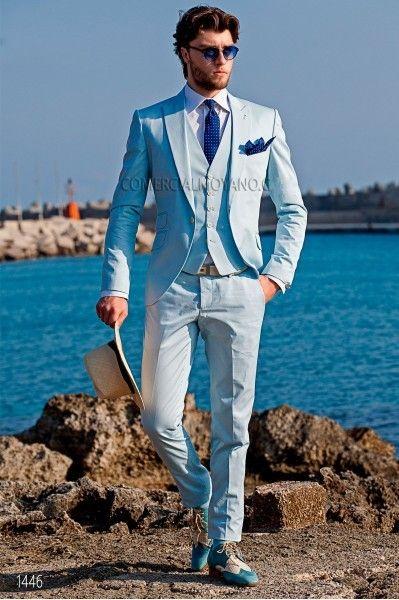 Jasnoniebieski Trzy Kamień Groom Tuxedos Peak Lapel One Button Man Wedding Garnitur Przystojny Mężczyźni Kolacja Business Prom Blazer (Kurtka + spodnie + krawat + kamizelka) 6